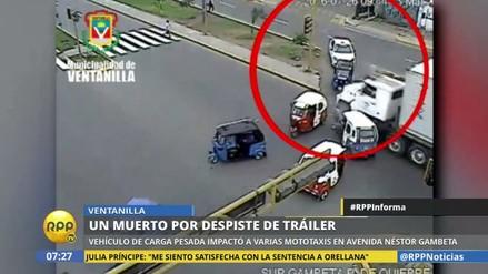 VIDEO. Tráiler fuera de control embistió varias mototaxis en Ventanilla