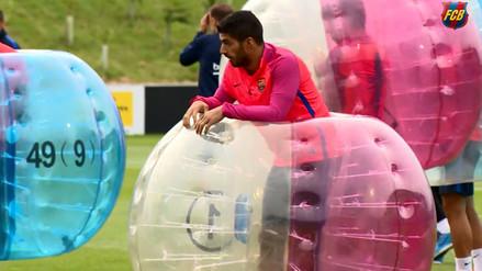 Barcelona: Lionel Messi y Luis Suárez entrenaron en burbujas gigantes