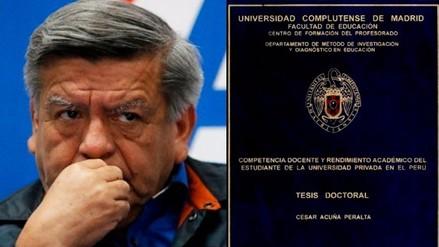 Complutense detectó irregularidades en tesis doctoral de César Acuña