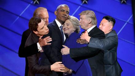 El tierno abrazo de Obama y Hillary Clinton es blanco de los memes