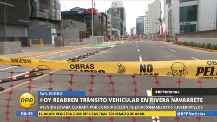San Isidro: este lunes reabrirán la avenida Rivera Navarrete