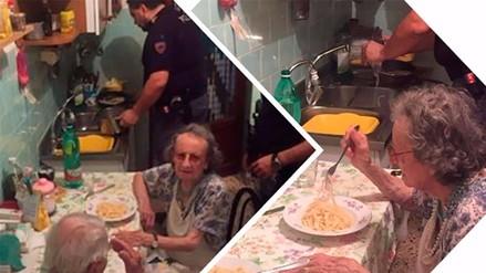 Facebook: policías prepararon cena para una pareja de ancianos que lloraba