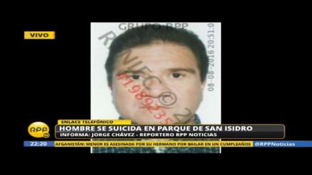 Hombre se suicida de un disparo en la cabeza en parque de San Isidro