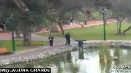 Video: joven cayó a la laguna de El Olivar por jugar Pokémon Go