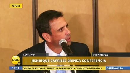 """Henrique Capriles: """"Con Maduro, los venezolanos no tenemos futuro"""""""
