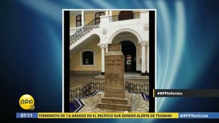 Denuncian robo de busto de Haya de la Torre en sede de la UNFV