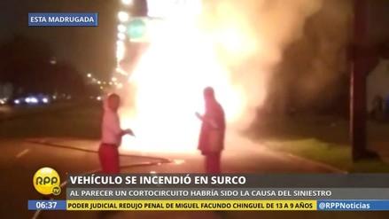VIDEO. Coche se incendió en plena Javier Prado