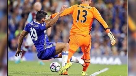 YouTube: Diego Costa casi le rompe la pierna a Adrián con esta entrada