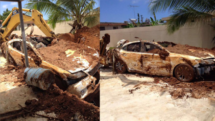 Facebook: anciano enterró su auto en su jardín para cobrar el dinero del seguro