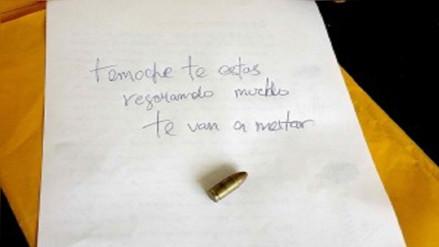 Dejan carta con bala en vivienda del alcalde de la provincia de Ferreñafe