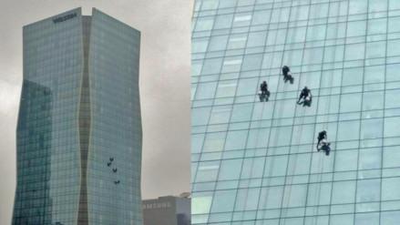 Video: los 'hombres araña' de la limpieza dominan los edificios de Lima