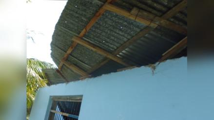 Bagua: fuertes vientos afectan techo de colegio en Peca