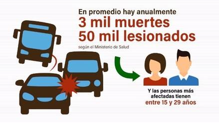 Accidentes de tránsito causan la muerte de unas 3 mil personas al año