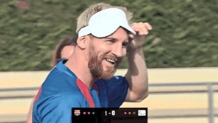 Lionel Messi jugó un partido frente a la Selección Española de invidentes