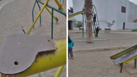 Juegos viejos y oxidados ponen en riesgo a niños del Cercado de Lima