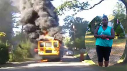 Facebook: conductora logra rescatar a 20 niños de un bus escolar en llamas