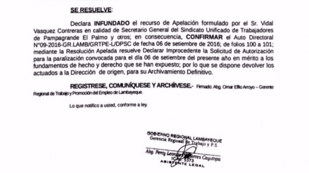 La Gerencia de Trabajo declaró infundada la apelación de los trabajadores de Pomalca