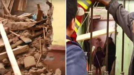 El derrumbe provocado de una casona en el Rímac dejó 3 personas atrapadas