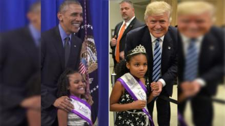 Twitter: así reaccionó una niña al conocer primero a Obama y luego a Donald Trump