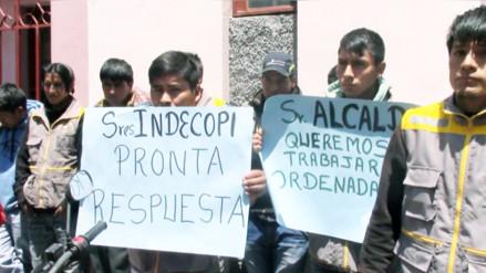 Mototaxistas protestaron en Indecopi exigiendo medida cautelar