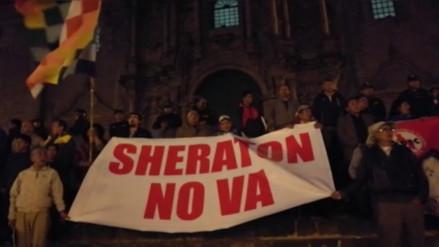 Cusqueños se movilizaron exigiendo demolición de hotel Sheraton