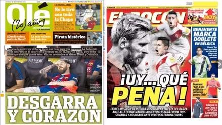 Estas portadas generó Messi en Argentina y Perú tras su lesión