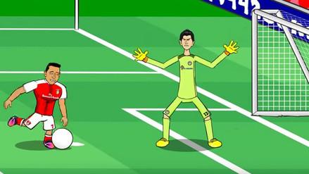 Apareció la versión animada del gol de Alexis Sánchez al Chelsea