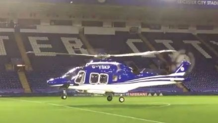Helicóptero bajó a cancha del King Power para recoger a dueño del Leicester