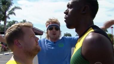 Usain Bolt deja en ridículo al conductor James Corden y todo su equipo de producción