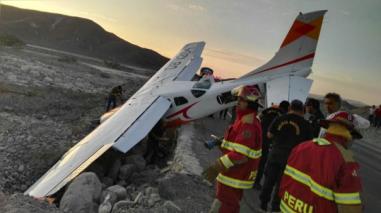 Cuatro heridos tras aterrizaje de emergencia de avioneta en Nazca
