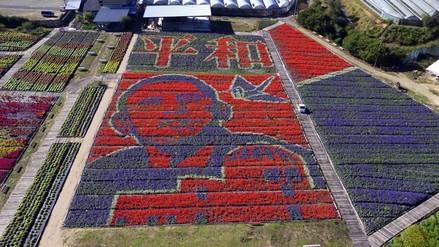 Con doscientas mil flores, forman una imagen de Barack Obama