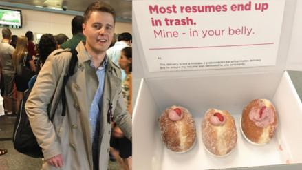 Twitter: un joven busca trabajo entregando su currículum en cajas de donuts