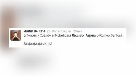Reclaman en Twitter un premio Nobel para Ricardo Arjona