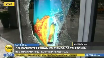 Delincuentes asaltaron una tienda de celulares en San Borja
