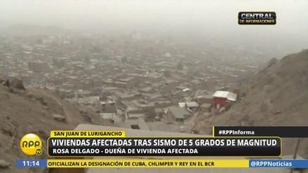 El sismo de anoche causó daños en varias casas de San Juan de Lurigancho
