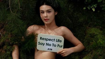 Una actriz china se desnudó en rechazo al uso de pieles de animales