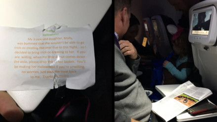 Twitter: padre organiza una sorpresa en un avión para que su hija celebre Halloween