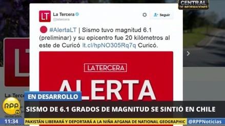 Un fuerte sismo remeció el centro de Chile