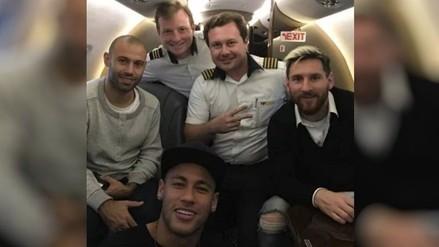 Lionel Messi y Neymar llegaron juntos a Belo Horizonte