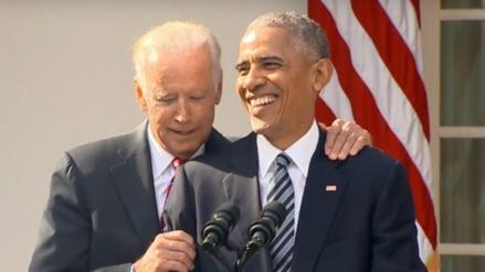 Obama bromea con Biden tras victoria electoral de Donald Trump