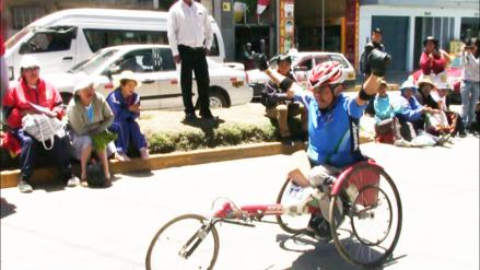 Huancayo: Reymundo Delgado ganó la maratón 42k en sillas de ruedas