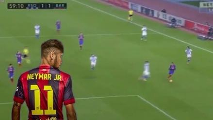 El doble regate de Neymar que opacó el gol de Messi ante Real Sociedad
