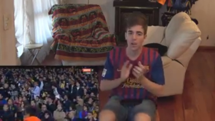 La reacción de un hincha del Barcelona tras el gol de Sergio Ramos