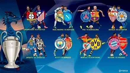 Así quedaron los duelos de los octavos de final de la Champions League