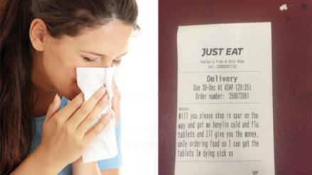 Clienta enferma consigue que un restaurante le lleve pastillas a su casa