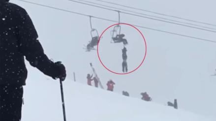 Tenso rescate de un esquiador que quedó colgado de una aerosilla