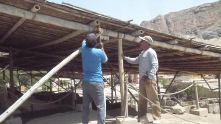 Reparan sistemas de protección temporal en sitios arqueológicos