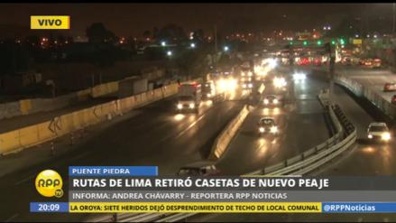 Rutas de Lima retiró las casetas del peaje de Puente Piedra