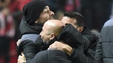 La eufórica celebración de Jorge Sampaoli tras el 2-1 del Sevilla al Real Madrid