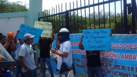 Trabajadores de construcción civil protestaron en UNPRG